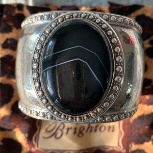 Brighton Black Onyx and Silver Cuff
